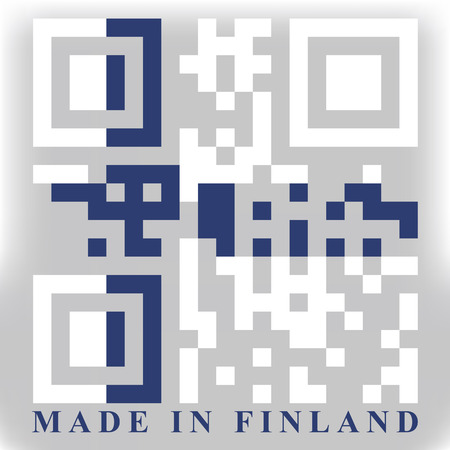 quick response: Finland QR code flag vector Illustration