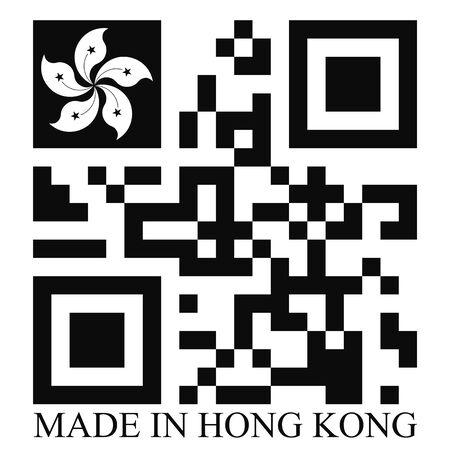 qr code: Hong Kong  QR code flag vector Illustration