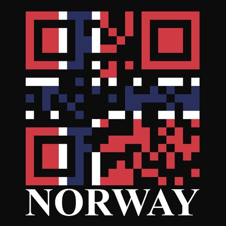 quick response: Norway QR code flag vector