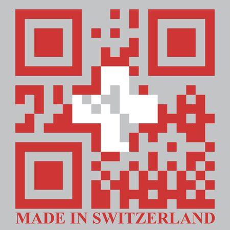quick response: Switzerland QR code flag vector
