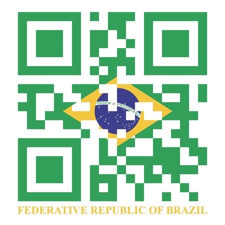 quick response: Brazil QR code flag, vector