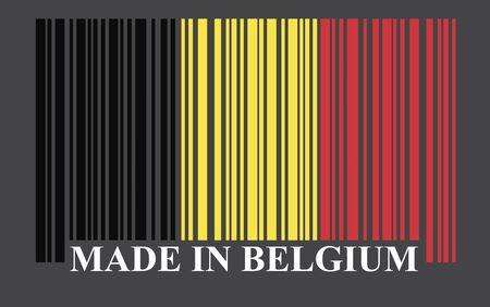 made in belgium: Belgium barcode flag, vector Illustration