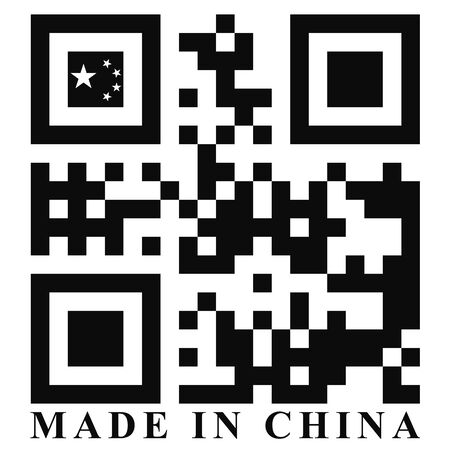quick response: China QR code flag, vector