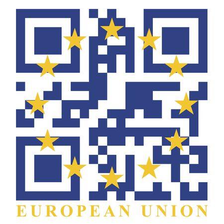qr code: EU QR code flag, vector Illustration