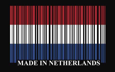 made in netherlands: Netherland barcode flag, vector
