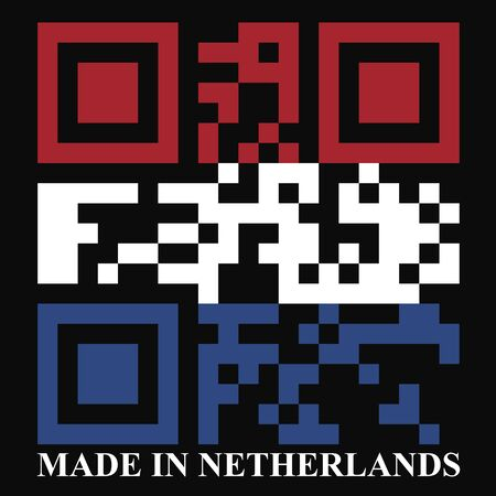 quick response: Netherland QR code flag, vector
