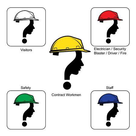 unsolvable: Safety Helmet Colours - Construction Site , vector