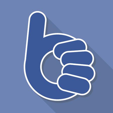 human okay hand sign: abstract thumb up- like symbol, vector