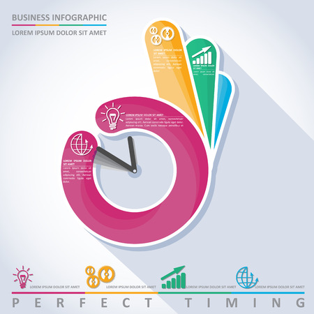 timing: Business infographic. Perfect timing, vector
