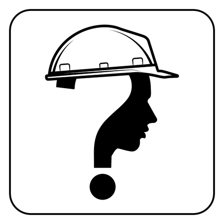 worker man: modern worker man sign with question mark, vector
