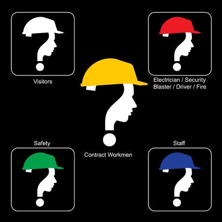 construction helmet: Safety Helmet Colors - Construction Site , vector