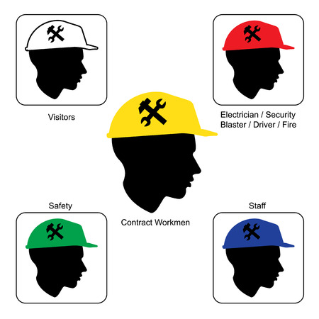 Construction Site warning - Safety Helmet Colors, vector