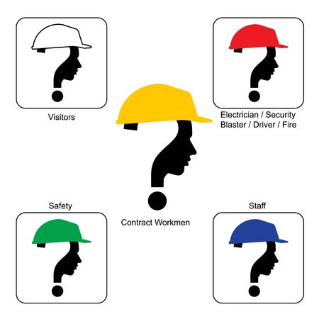 unsolvable: Safety Helmet Colors - Construction Site , vector