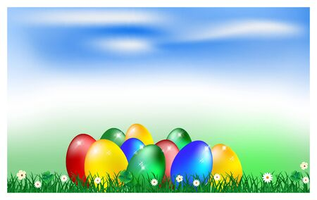holyday: Easter card with eggs and chicks, vector