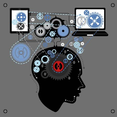 communicating: human brain communicating with technology, vector