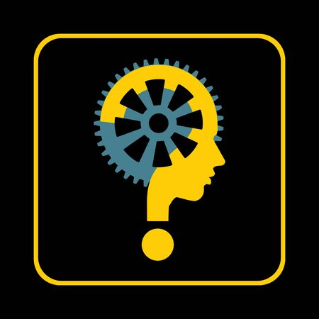 imagine a science: modern man sign with question mark and gear, vector