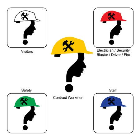 unsolvable: Safety Helmet Colors - Construction Site , vector