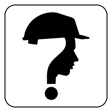 modern worker man sign with question mark, vector