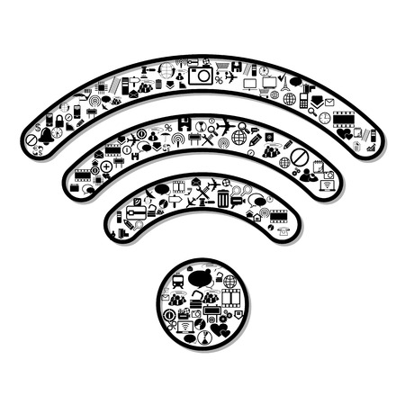 network router: Wi Fi symbol, vector
