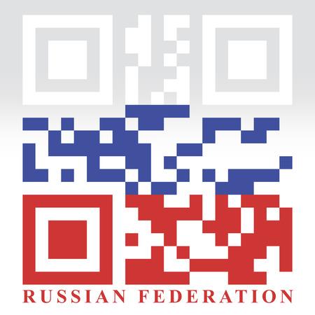 quick response: Russia QR code flag, vector