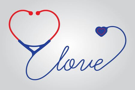 stethoscope heart with love, vector Stock Photo