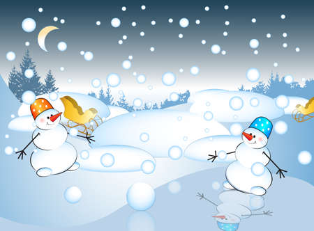 snowman vector: Postcard with snowman , vector