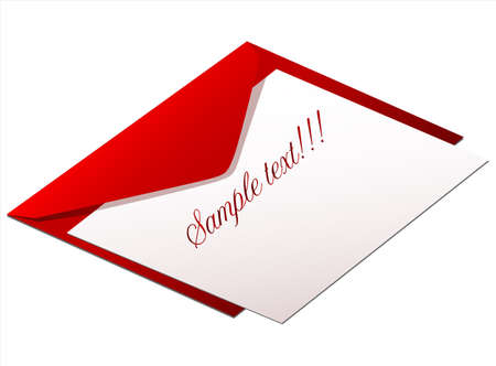 message vector: red envelope with love message, vector Stock Photo
