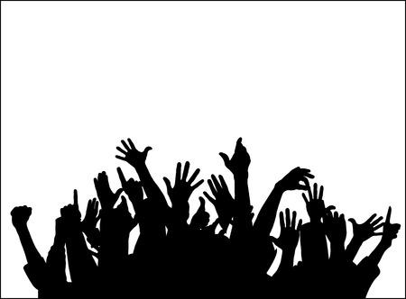 Grote groep verhogen handen