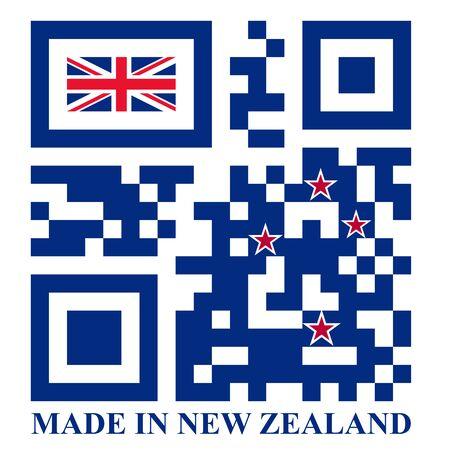 quick response: New Zealand QR code flag, vector