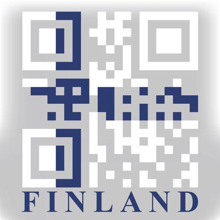 qr code: Finland QR code flag, vector Stock Photo