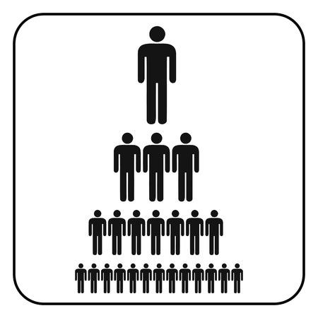 strichmännchen: Corporate Organisationshierarchie Diagramm eines Unternehmens Symbol Menschen. , Vektor-