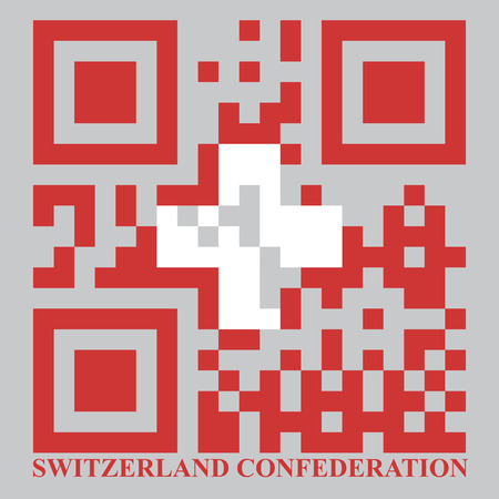 quick response: Switzerland QR code flag, vector