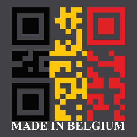 quick response: Belgium QR code flag, vector