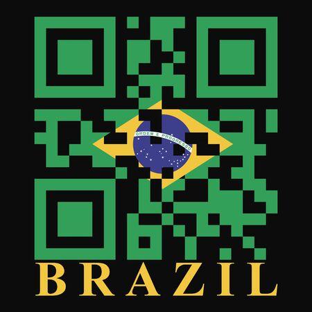qr code: Brazil QR code flag, vector