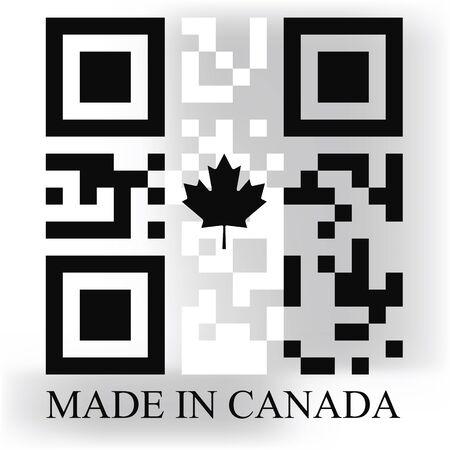 quick response: Canada QR code flag, vector
