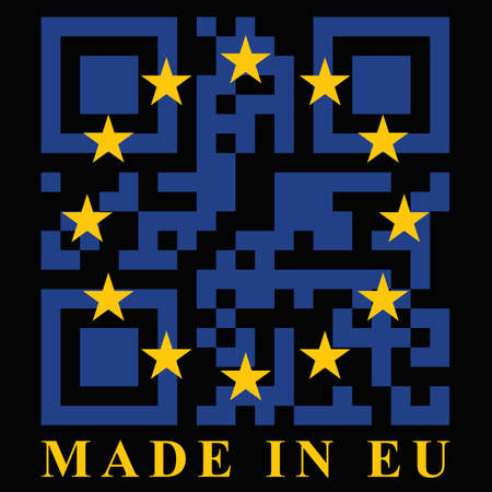 quick response: EU QR code flag, vector Illustration