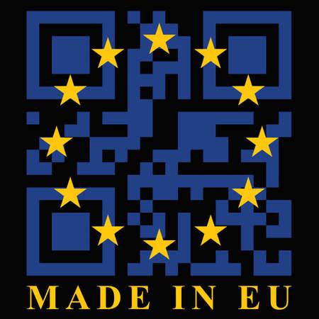EU QR code flag, vector Illustration