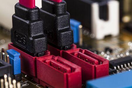 sata: Motherboard SATA socket Stock Photo