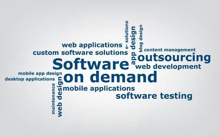 keyword: keyword  Software on demand wordcloud, vector