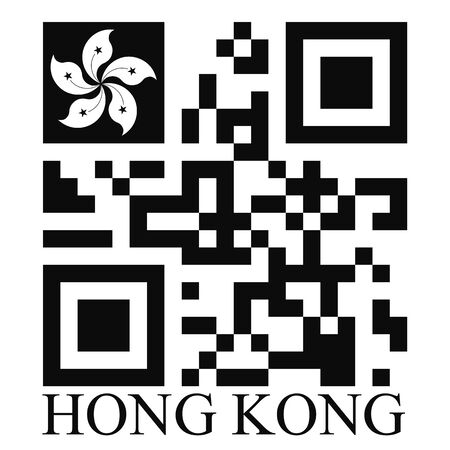quick response: Hong Kong  QR code flag, vector Illustration