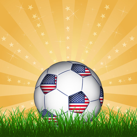 winning flag: American soccer ball, vector Illustration