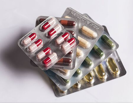 penicillin: Set of pills in pack Stock Photo