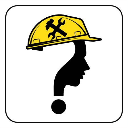 unsolvable: modern worker man sign with question mark, vector