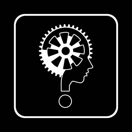 unsolvable: modern man sign with question mark and gear, vector