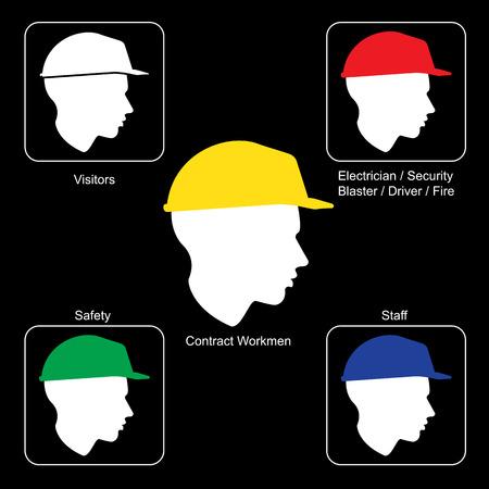 construction helmet: Construction Site warning - Safety Helmet Colors, vector