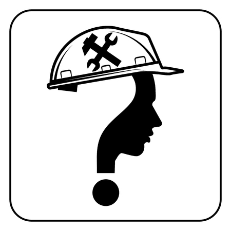 laborer: modern worker man sign with question mark, vector