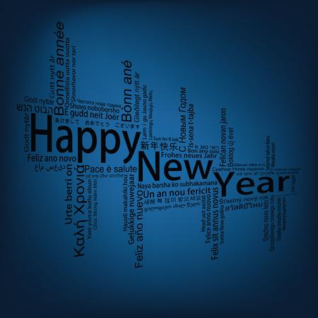 metadata: Happy New Year Tag Cloud, vector