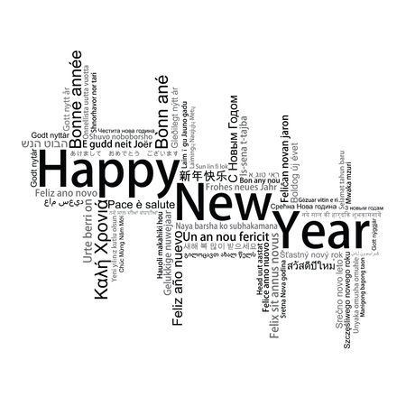 year greetings: Happy New Year Tag Cloud, vector