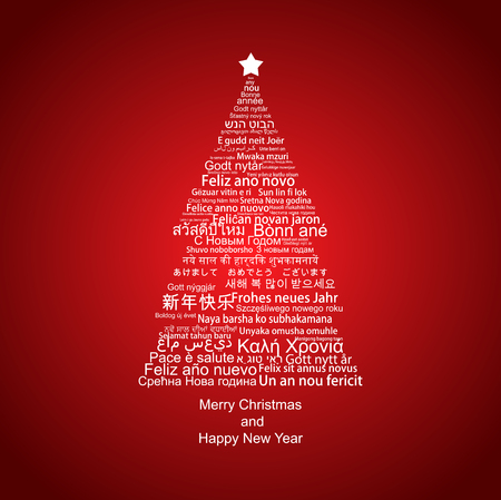 metadata: Happy New Year Tag Cloud shaped as a Christmas tree