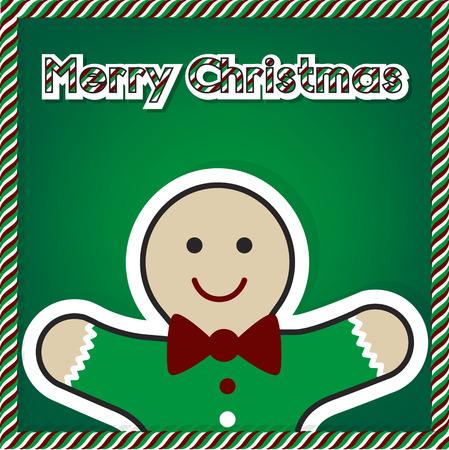 fifteen: Christmas gingerbread card 2015, vector Illustration